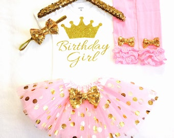 Gold and pink birthday outfit, first birthday outfit, gold glitter bodysuit, pink and gold tutu,  first birthday, pink gold first birthday