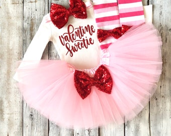 Baby girl Valentines outfit, Valentine sweetie outfit, 1st valentines outfit, first valentines outfit, pink red, newborn valentines outfit