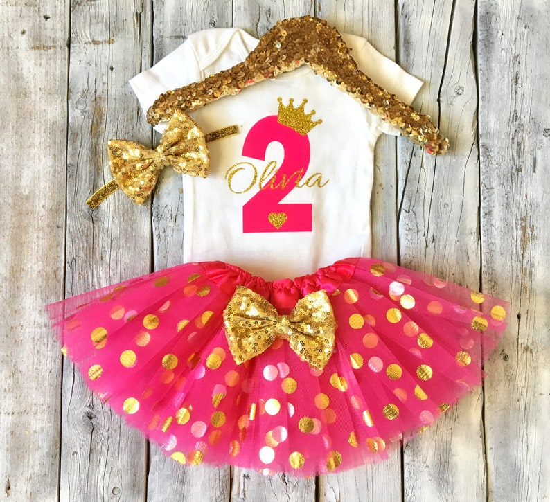 hot pink and gold personalized pink and gold second birthday outfit Girls second birthday princess tutu outfit 2nd birthday outfit girls