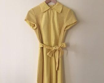 VTG Mid 1960's Mellow Yellow Mini Dress Go Go MOD