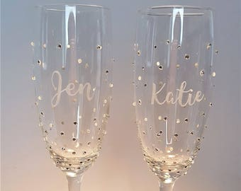 Personalised Champagne Flute,  Bridesmaid gift, Prosecco Glass, Hand Engraved, Favour, Hen Party,  Gift for Her, Wedding Party, Birthday