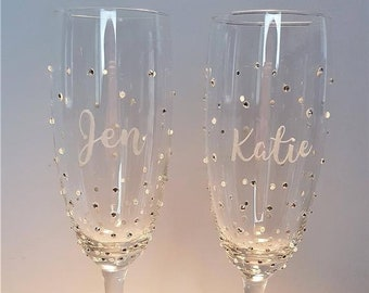Personalised Prosecco Champagne glass, Bridesmaid Gift, Wedding Party