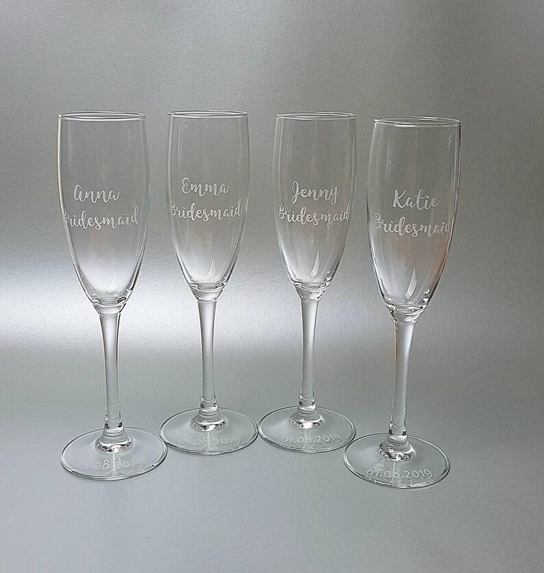 cdb0fac0578 Bridesmaid gift Champagne flute Prosecco Glass Hen | Etsy