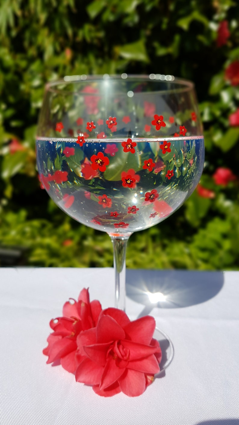 Poppy Cherry Blossom Gin Glass Personalised Hand Painted Daisy Forget me Not