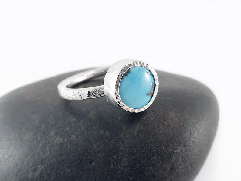 Turquoise Ring Size 7 Handcrafted Sterling Silver Turquoise Ring Handmade Turquoise Ring Turquoise Jewelry One Of A Kind Turquoise Ring