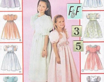Puffy sleeve, Flower Girl Dress Sewing Pattern/ Simplicity 4764 Summer Full Skirt, Princess Ball gown, dress UnCut/ Size 3 4 5