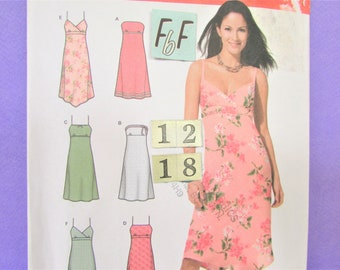 Spaghetti Strap Summer Dress Sewing Pattern/ Simplicity 4994 Womens strapless, empire waist, fit and flare sundress, UnCut/ Size 12 14 16 18