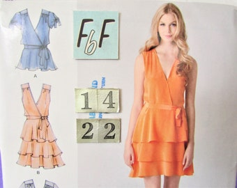 34af31e2bac Tiered Wrap Summer Dress, Top Sewing Pattern/ Simplicity 1872 Women's V  neck, ruffled, flared dress, UnCut/ Plus Size 14 16 18 20 22