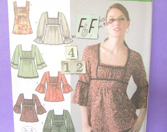 0ae9e3cd692 Square Neckline, Empire Waist Top Sewing Pattern/ Simplicity 4022 Womens  gathered bust, long sleeve, loose tunic top UnCut/ Size 4 6 8 10 12