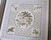 Flower, Christmas Rose Cross Stitch Pattern NeedleWorker 2001. Winter holly, floral sampler counted colour cross stitch chart