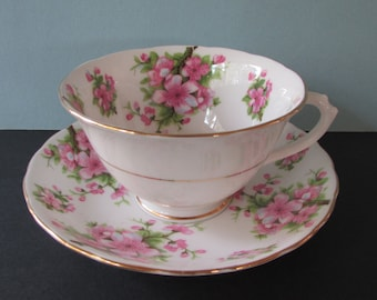 """Chelsea Peach Blossom Tea Cup, Saucer/ 1930's Gilded, Pink Blossoms, branches, Gold footed tea cup saucer, teacup/ Pre """"Royal Chelsea"""" mark"""