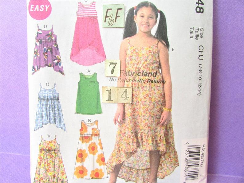 Easy Spaghetti Strap Mini Sun Dress Empire Ruffle McCall Sewing Pattern 4 6 8 10