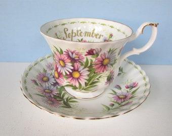 Royal Albert September TeaCup Saucer/ Royal Albert Michaelmas Daisy, Flower of Month Series, Birthday tea cup, saucer