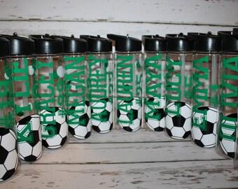 Personalized Soccer Team Water Bottle-Soccer Name and Number water bottle, Team Water Bottles, You design
