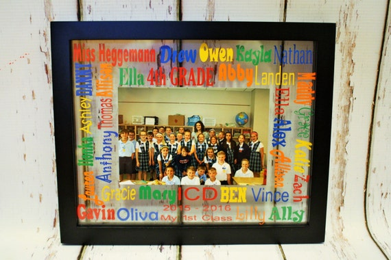 School Words Glass Floating Picture Frame Teacher Gift End Of Etsy