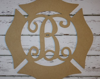 Unfinished Firefighter Wooden Maltese Cross with Initial, Hand Paint Yourself, Firefighter gift, Monogram Gift, DIY. DIY Maltese Cross