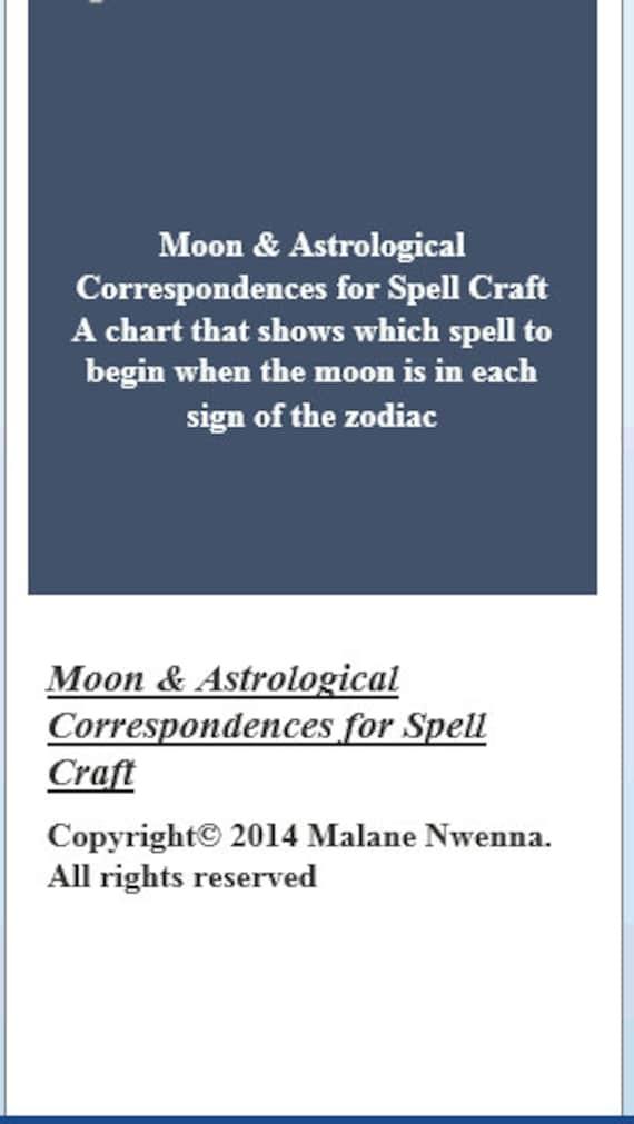 Astrological Moon Chart Moon Astrological Correspondences Etsy