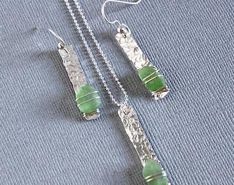 Green sea glass bar necklace- Sea glass earrings- Ocean glass earrings- Ocean glass necklace- Sea glass jewelry- Bohemian jewelry- gift
