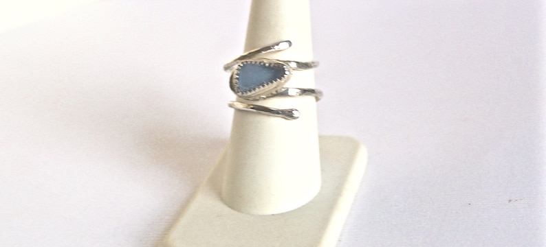 Adjustable light blue sea glass ring sterling silver and bezel set gift for friend gift for beach lover sea glass jewelry for women