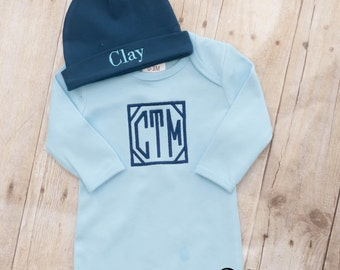 Baby Boy Gown - Newborn Boy Gown - Baby Gown - Baby Shower Gift Boy - Newborn Baby Boy - Personalized Gown - Monogrammed Gown