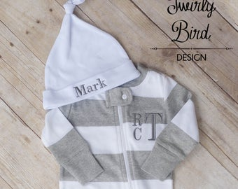 Baby Shower Gift for Boys, Monogram Pajamas