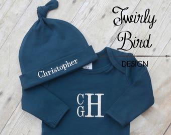 Boy Baby Gown - Baby Boy Gown BLue - Baby Gown - Baby Shower Gift Boy - Newborn Baby Boy - Personalized Gown - Monogrammed Gown