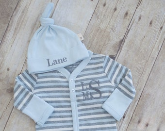 Take Home Outfit Boy, Newborn Boy, Baby Shower Gift Boy,  Newborn Monogram