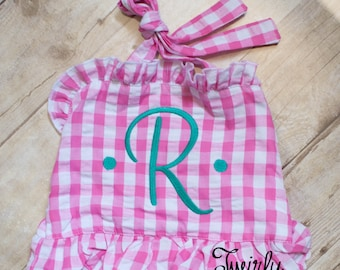 Toddler Girls Swimsuit - Baby Girls Swimsuit - Toddler Swim - Monogrammed Swimsuit - Girls Swimwear - Girls Ruffle Swimsuit