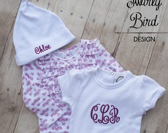Baby Girl Outfits with Matching Hats- Baby Girl Outfit Purple- Newborn Girl Purple Monogrammed Outfit- Coming Home Outfit Girl