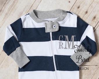 Monogram Baby PJ's - Monogram Baby Pajamas - Baby Boy Pajamas - Zipper Pajamas - Newborn Boy - Going Home Outfit Boy