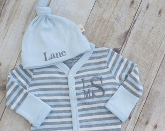 Take Home Outfit Boy - Newborn Boy - Baby Shower Gift Boy - Newborn Monogram - Newborn Baby Photos- Organic Baby - Baby Boy