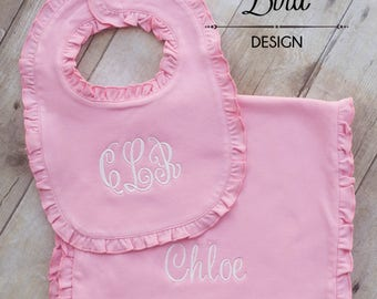 Baby Girl Bib and Burp Cloth GIft Set - Girl Bib and Burp Cloth Set - Monogram Girl Bibs - Monogram Girl Burp Cloths - Baby Shower Gift Girl