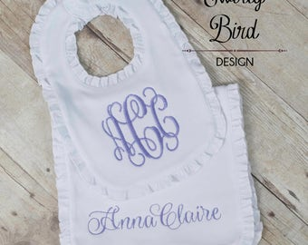 Newborn Girl Baby Gift - Baby Shower Gift Girl - Monogram Girl Bibs, Monogram Girl Burp Cloth, Baby Shower Gift Girl,