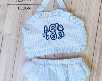Swimsuit Girls - Baby Girls Swimsuit - Toddler Girls Swimsuit - Seersucker Monogrammed Swimsuit - Girls Swimwear - Girls Ruffle Swimsuit