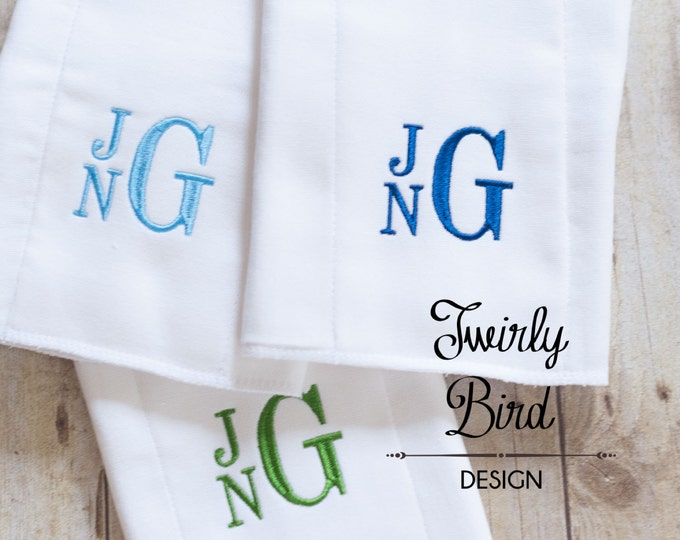 Featured listing image: Burp Cloths for Boys, Baby Shower Gift, Monogrammed Burp Cloths, Personalized Burp Cloths