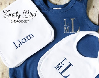 Monogram Baby Gift Set - Outfit/ Bib/ Burp Cloth, Simple and Classic Baby Shower Gift for Boys