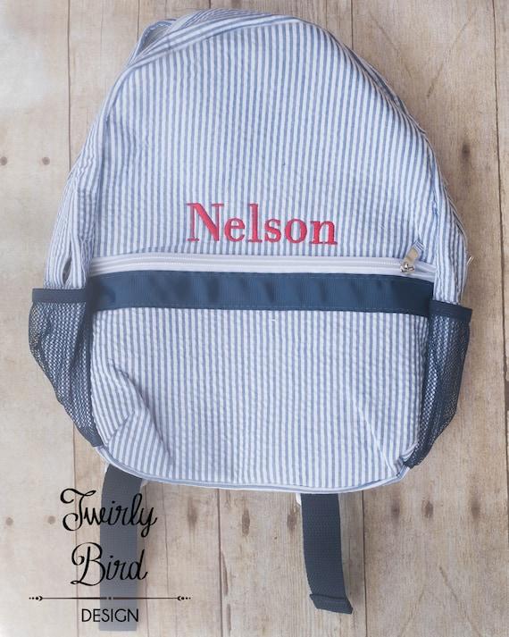5b377f700d11 Toddler Backpack Preschool Backpack Seersucker Backpack