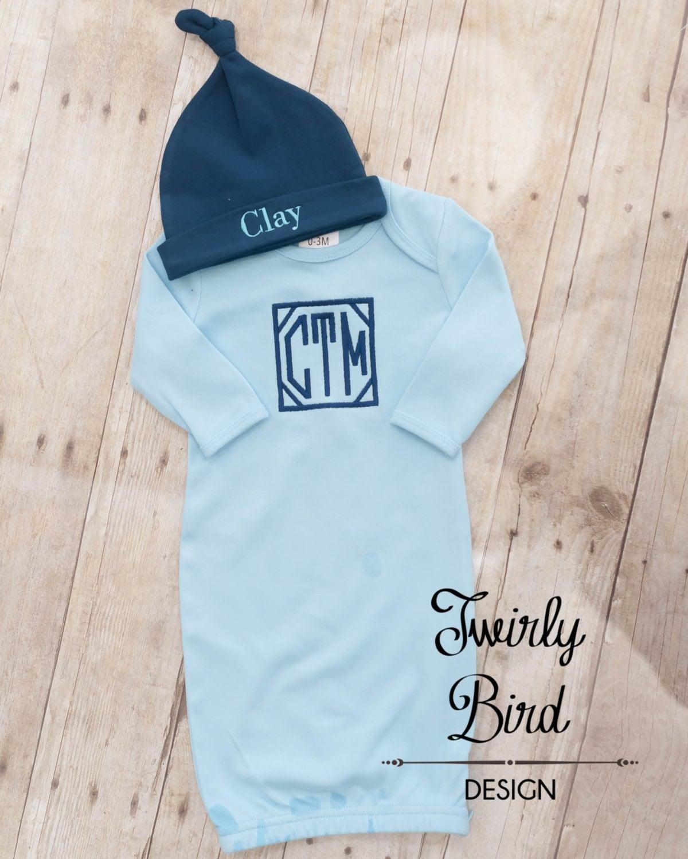 Baby Boy Gown - Newborn Boy Gown - Baby Gown - Baby Shower Gift Boy ...
