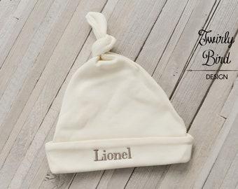 Ivory Newborn Hat, Personalized Baby Hat