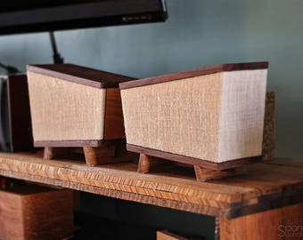 Handmade Black Walnut Hickory Wood Bookshelf Speakers Pair