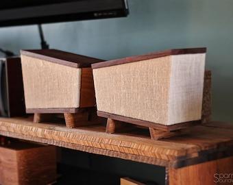Handmade Black Walnut & Hickory Wood Bookshelf Speakers Pair - Vexus 1.0