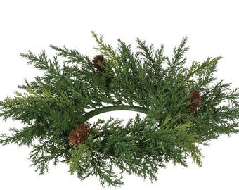 """Arborvitae Pine Candle Ring, 4.25"""" Opening"""