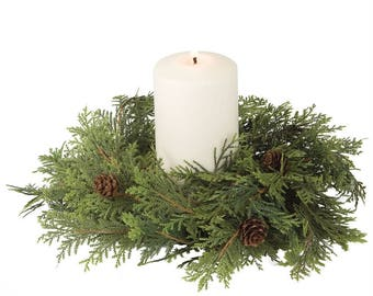 """Cypress Pine Candle Ring, 4.5"""" Opening"""