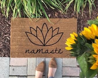 Namaste, lotus flower doormat / Handpainted outdoor welcome mat / Yoga Doormat / Flower Doormat /  Unique gifts / Housewarming Gifts