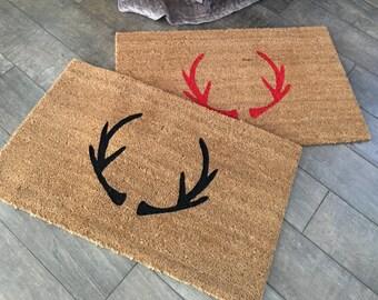 Antler Doormat / Custom Welcome Mat / Personalized Doormat / Monogram  Doormat / Antler Decor / Last Name Doormat / Rustic Doormat / Cabin