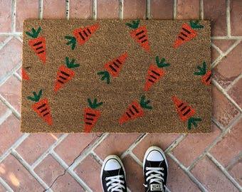Easter doormat / Outdoor Welcome Mat / Housewarming Gift / Easter Decor / Unique Gift / Bunny Decor / Spring Doormat / Carrot Doormat