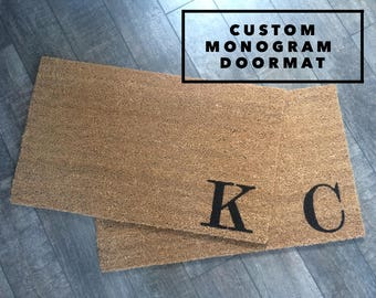 Custom Monogram Doormat / Initial Doormat / Last Name Doormat / Housewarming Gift / Wedding Gift / Personalized Doormat / Welcome Mat / Love
