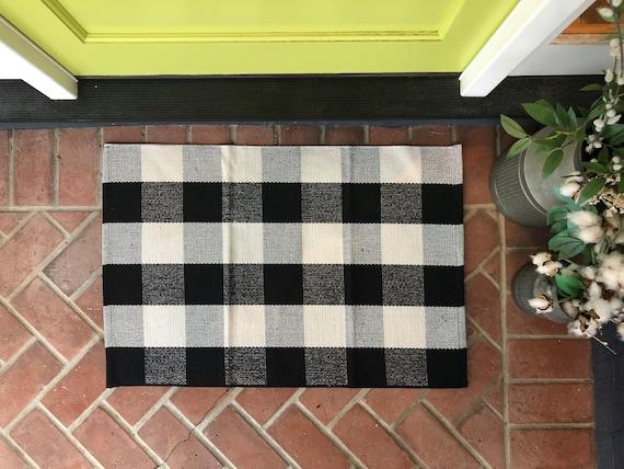 Buffalo Check Entry Rug Accent Rug Buffalo Rug Checker Rug Black And White Area Rug Nickel Designs Doormat Layering Rug