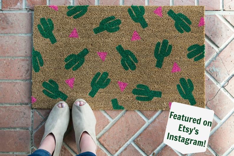 Cactus Plant Doormat / Cactus Decor / Succulent Gift / Custom image 0