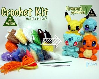 Crochet Kit Chibis: Elemental Animals Set 1 SAVE 50+! Pokemon inspired animals like Charmander, Squirtle, Bulbasaur, Pikachu